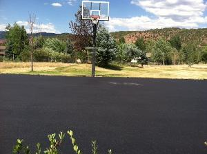 A Recent Repaving Of A Basketball Court At A Private Residence.  Before...and After